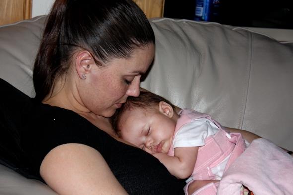 Sweet sleeping in the Pavlik Harness