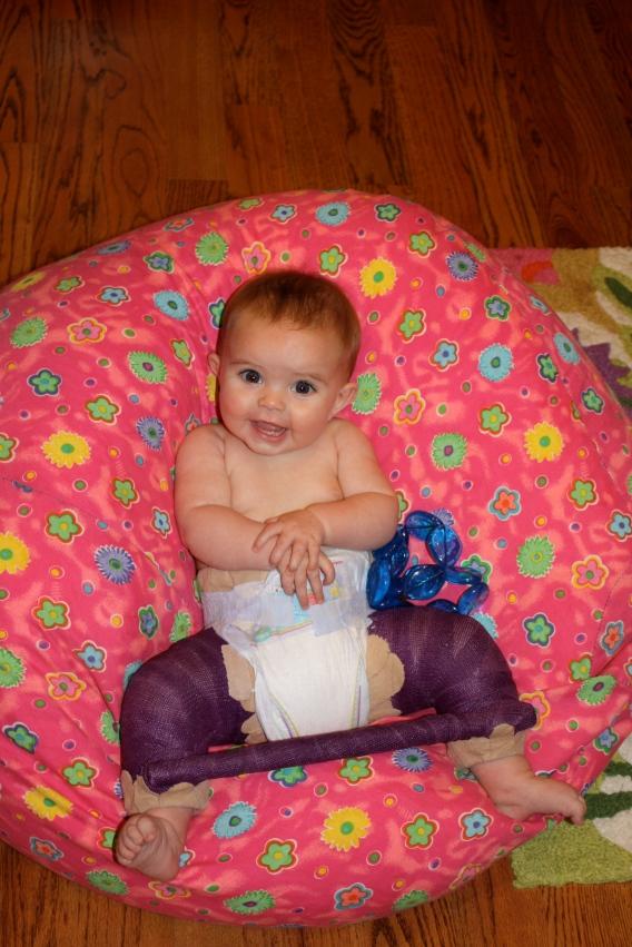 happy Hazel in her purple spica cast